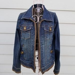 CAbi LIKE NEW jean jacket w leather & fringe trim